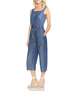 VINCE CAMUTO - Sleeveless Cropped Denim Jumpsuit