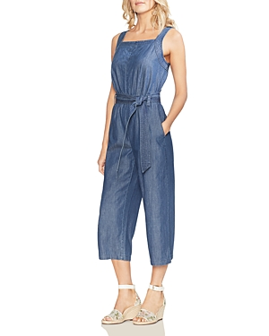 Vince Camuto Suits SLEEVELESS CROPPED DENIM JUMPSUIT