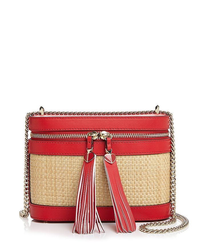 kate spade new york - Small Leather & Raffia Convertible Crossbody