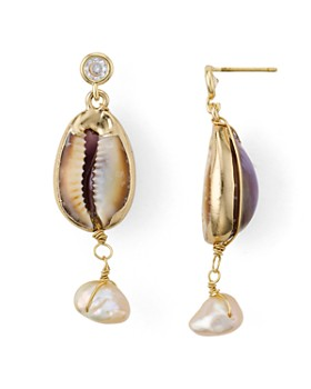 AQUA - Cultured Freshwater Pearl & Shell Drop Earrings - 100% Exclusive