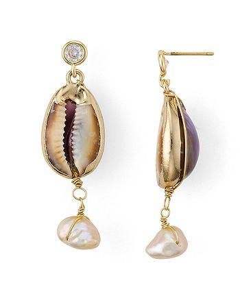 AQUA - Cultured Freshwater Pearl & Shell Drop Earrings - 100% Exclusive