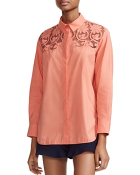 a574144b3ae Maje - Caponi Lace Shoulder Shirt ...