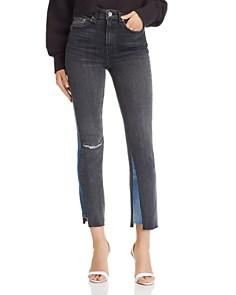 rag & bone/JEAN - Nina High-Rise Ankle Cigarette Color-Block Jeans in Bakton