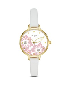 kate spade new york - Metro White Leather Strap Watch, 34mm