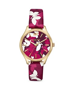 Michael Kors - Lexington Butterfly Printed Mauve Leather Strap Watch, 36mm