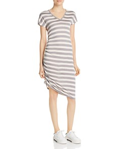 Kenneth Cole - Striped Side Ruched Dress