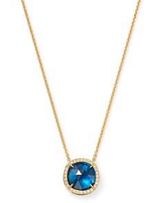 "Marco Bicego - 18K Yellow Gold Jaipur Color London Blue Topaz Pendant Necklace, 16.5"""