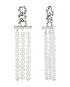 Carolee - Cultured Freshwater Pearl Tassel Drop Earrings in Sterling Silver
