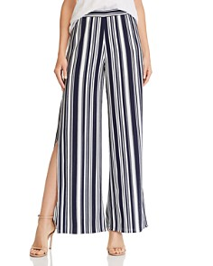 AQUA - Striped Split Wide Leg Pants - 100% Exclusive