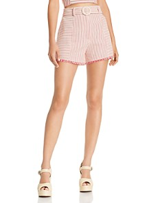 AQUA - Belted High-Waisted Stripe Shorts - 100% Exclusive