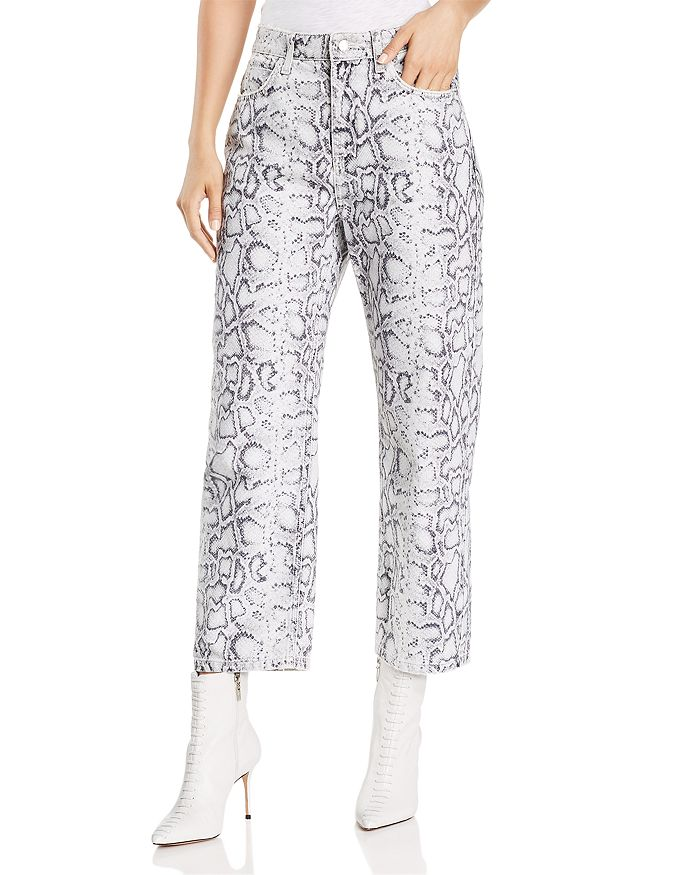 alexanderwang.t - Printed Crop Straight Jeans in Faded Python
