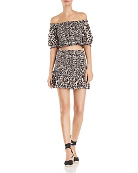 Red Carter - Off-the-Shoulder Animal-Print Crop Top