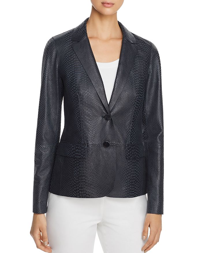 Lafayette 148 New York - Camden Snake-Embossed Leather Blazer - 100% Exclusive