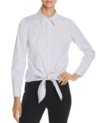 Katarina Striped Tie Front Shirt   100 Percents Exclusive by Elie Tahari