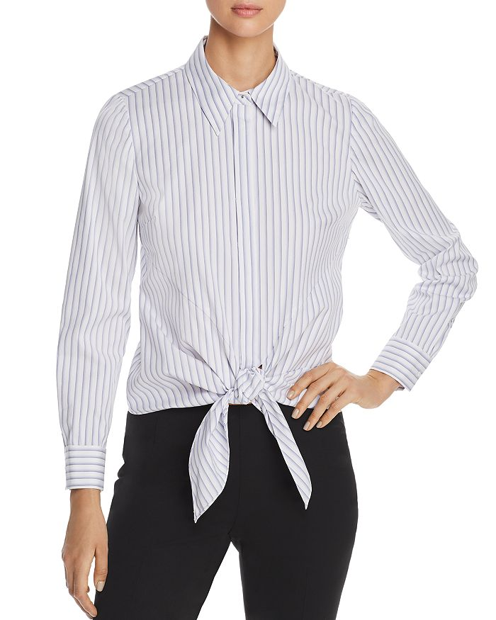 98ff71b3276e Elie Tahari Katarina Striped Tie-Front Shirt - 100% Exclusive ...