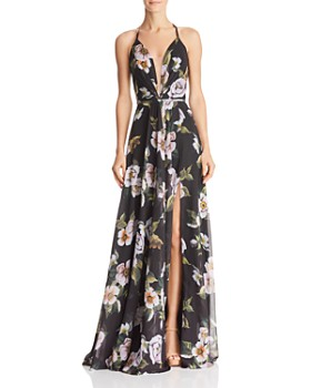 Faviana Couture - Floral-Print V-Neck Gown