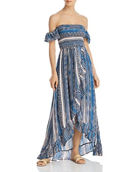 Surf Gypsy - Off-the-Shoulder Smocked Bodice Ruffled Maxi Dress Swim Cover-Up