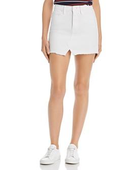 FRAME - Le Raw-Edge Denim Mini Skirt