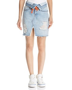 Hudson - Sloane Fold-Over Denim Skirt in Overthrow