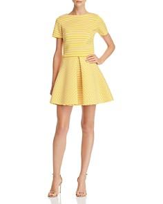AQUA - Striped Pleated Neoprene Skirt - 100% Exclusive