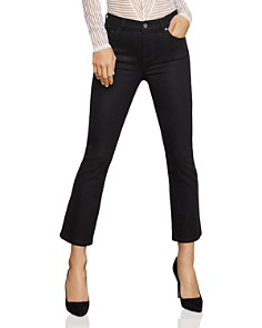 BCBGMAXAZRIA - Coated Cropped Bootcut Jeans in Black