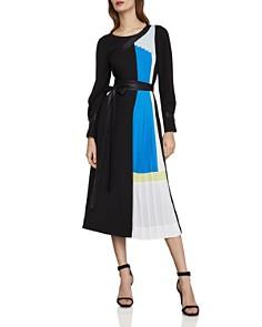 BCBGMAXAZRIA - Color-Block Pleated Midi Dress
