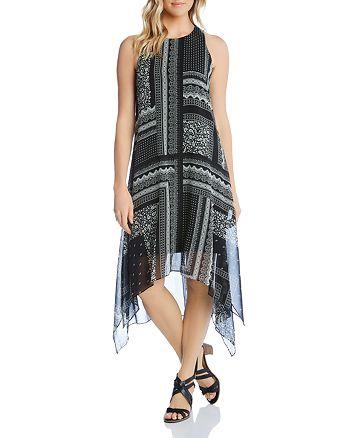 Karen Kane - Sleeveless Scarf-Print Handkerchief-Hem Dress