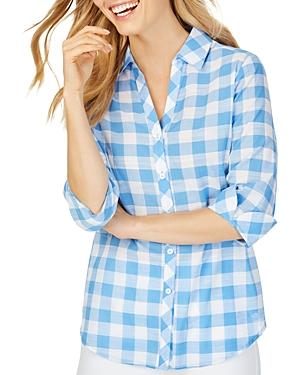 Foxcroft T-shirts DARA GINGHAM HIGH/LOW SHIRT