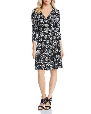 Karen Kane Dresses PRINTED FAUX-WRAP DRESS