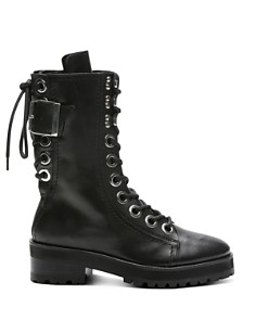 The Kooples - Women's Eyelets & Buckles Leather Combat Boots