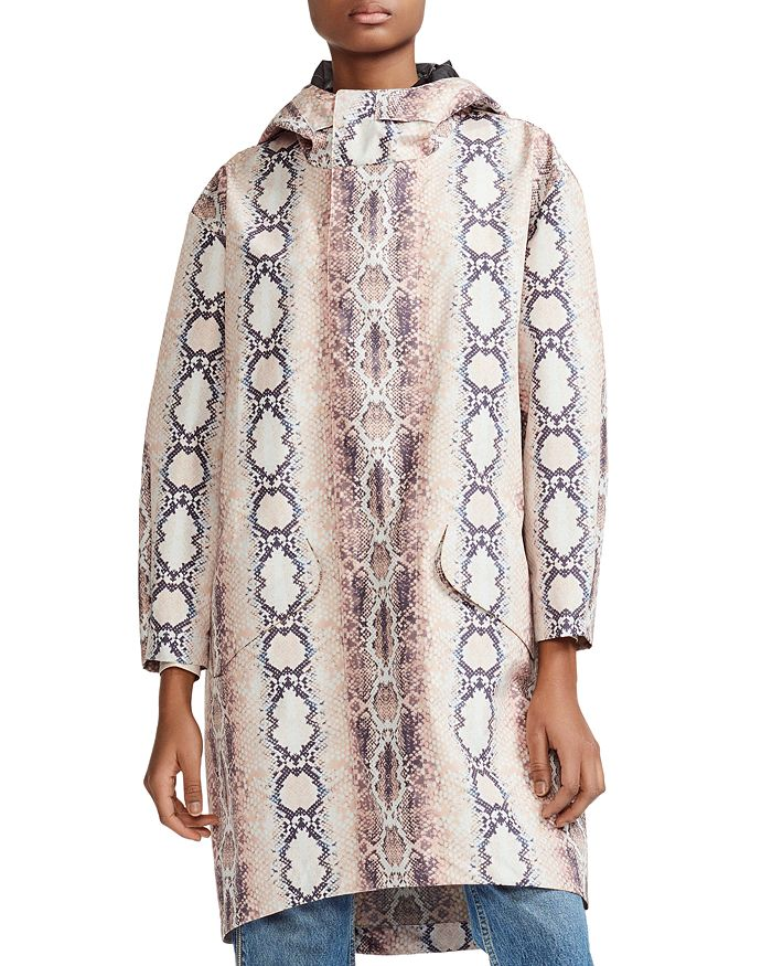Maje - Baro Snakeskin Print Hooded Jacket