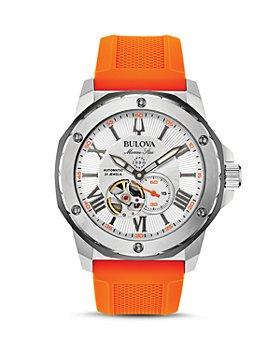 Bulova - Marine Star Orange Silicone Strap Automatic Watch, 45mm
