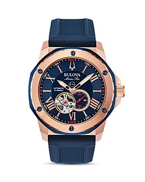 Marine Star Blue Silicone Strap Automatic Watch