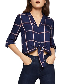 88652811801c BCBGENERATION - Windowpane Check Tie-Front Top ...