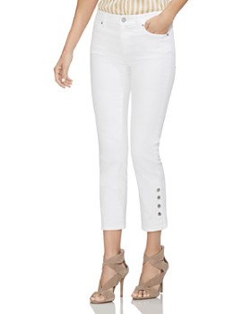 VINCE CAMUTO - Snap-Cuff Straight-Leg Jeans in Ultra White