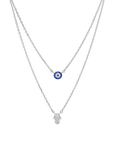 """AQUA - Double Strand Hamsa Pendant Necklace in 14K Gold-Plated Sterling Silver or Sterling Silver, 14""""-16"""" - 100% Exclusive"""
