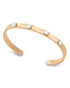 Majorica - Simulated Pearl Studded Thin Cuff Bracelet