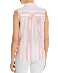 BeachLunchLounge - Sleeveless Striped Tie-Front Shirt