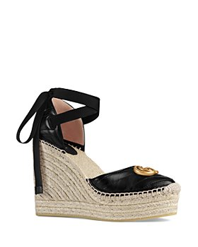 Gucci - Ankle Tie Wedge Platform Espadrille Sandals