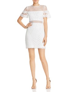 AQUA - Flutter-Sleeve Lace Sheath Dress