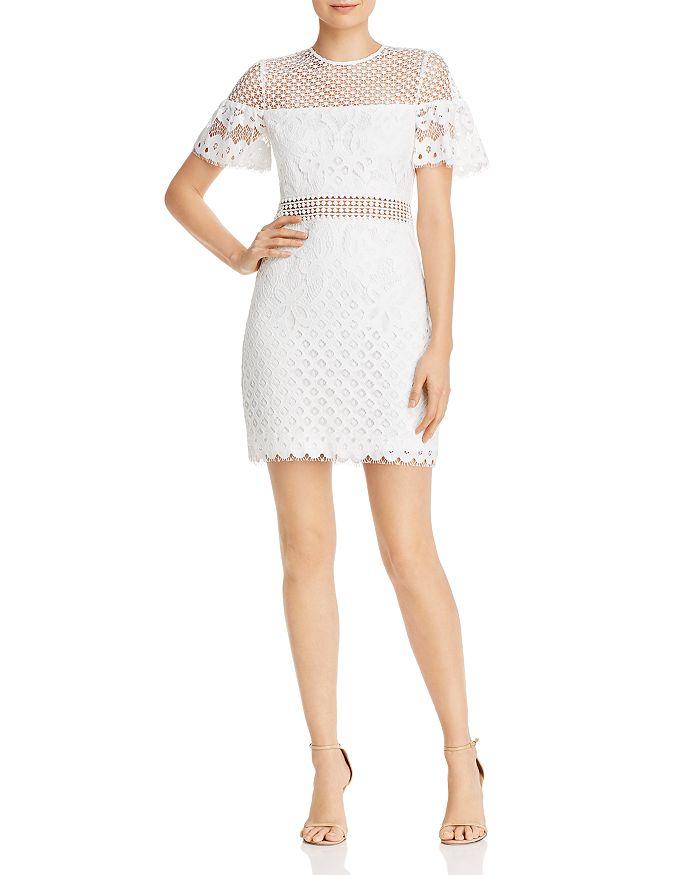 AQUA - Flutter-Sleeve Lace Sheath Dress