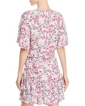 AQUA - Tie-Front Floral Cropped Top - 100% Exclusive
