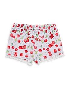 PilyQ - Girls' Cherries Swimsuit Cover-Up Shorts - Big Kid