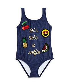 PilyQ - Girls' Selfie One-Piece Swimsuit - Little Kid, Big Kid