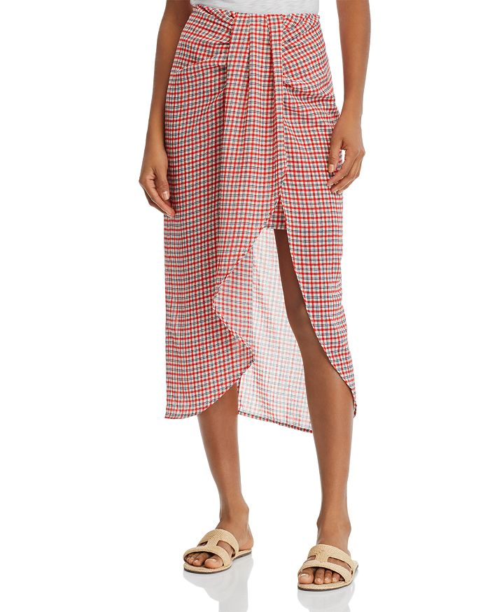 C/MEO Collective - Counting All Twist-Front Plaid Skirt