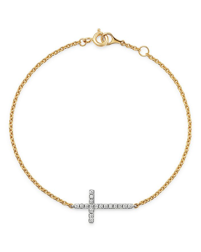 Bloomingdale's - Diamond Cross Bracelet in 14K Yellow & White Gold, 0.15 ct. t.w. - 100% Exclusive