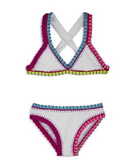 Platinum inspired by Solange Ferrarini - Girls' Rainbow Embroidered Ribbed Two-Piece Swimsuit, Little Kid, Big Kid - 100% Exclusive