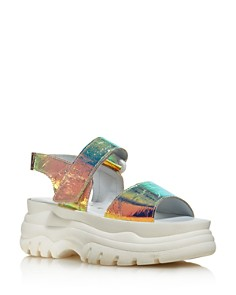Joshua Sanders - Women's Holographic Foil Chunky Sole Sandals