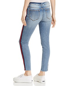 AQUA - Track Stripe Frayed Skinny Jeans in Navy/Red - 100% Exclusive