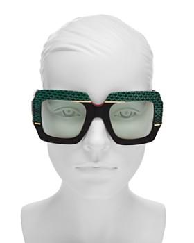 e9c02a3ac78 ... 54mm Gucci - Women s Snakeskin-Trim Square Sunglasses